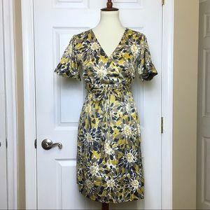 Banana Republic Yellow Floral Wrap Dress Size 0